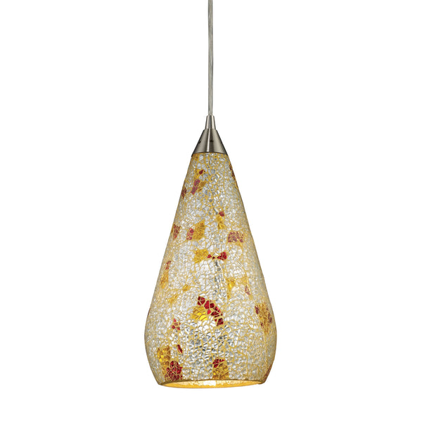 1 Light Pendant In Satin Nickel w/ Silver Multicolored Crackle