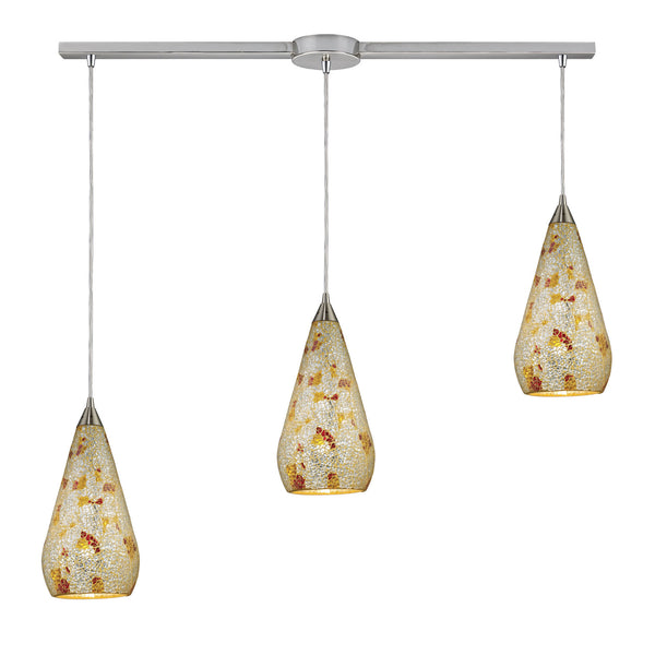 3 Light Linear Pendant In Satin Nickel With Silver Multicrackle
