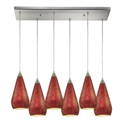 Curvalo 6 Light Pendant In Satin Nickel