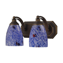 2 Light Vanity In Aged Bronze & Starburst Blue Glass
