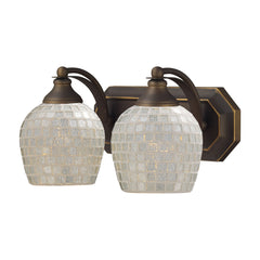 2 Light Vanity In Aged Bronze & Silver Mosaic Glass