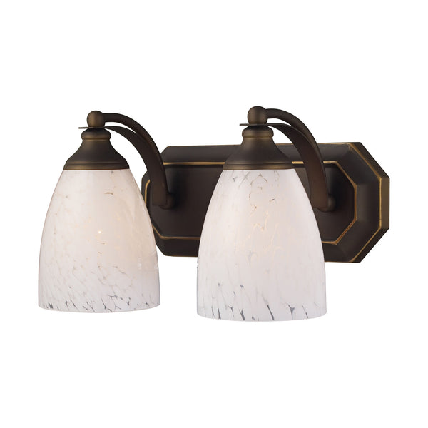 2 Light Vanity In Aged Bronze & Snow White Glass