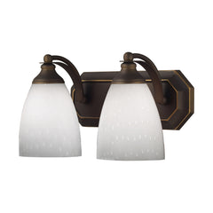 2 Light Vanity In Aged Bronze & Simply White Glass