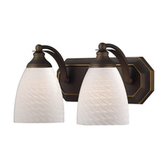 2 Light Vanity In Aged Bronze & White Swirl Glass