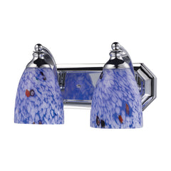 2 Light Vanity In Polished Chrome & Starburst Blue Glass