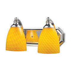 2 Light Vanity In Polished Chrome & Canary Glass