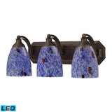 3 Light Vanity In Aged Bronze and Starburst Blue Glass - LED