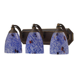 3 Light Vanity In Aged Bronze and Starburst Blue Glass