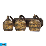 3 Light Vanity In Aged Bronze and Gold Mosaic Glass - LED