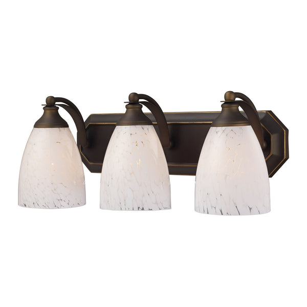 3 Light Vanity In Aged Bronze and Snow White Glass