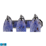 3 Light Vanity In Polished Chrome and Starburst Blue Glass - LED
