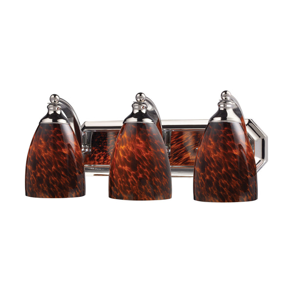 3 Light Vanity In Polished Chrome and Espresso Glass
