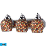 3 Light Vanity In Polished Chrome and Multi Mosaic Glass - LED