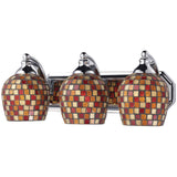 3 Light Vanity In Polished Chrome and Multi Mosaic Glass