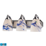 3 Light Vanity In Polished Chrome and Mountain Glass - LED