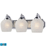 3 Light Vanity In Polished Chrome and White Mosaic Glass - LED