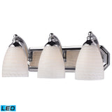 3 Light Vanity In Polished Chrome and White Swirl Glass - LED