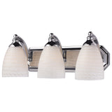 3 Light Vanity In Polished Chrome and White Swirl Glass