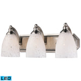 3 Light Vanity In Satin Nickel and Snow White Glass - LED