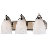 3 Light Vanity In Satin Nickel and Snow White Glass