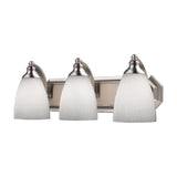 3 Light Vanity In Satin Nickel and Simply White Glass