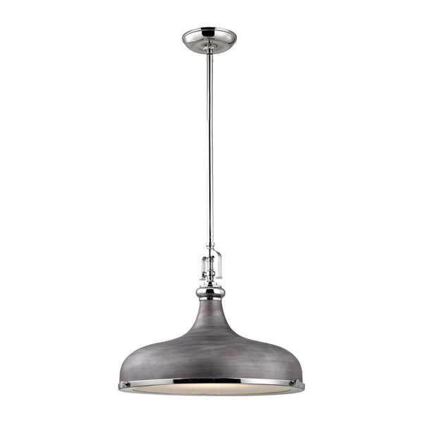 Rutherford 1 Light Pendant In Polished Nickel/Weathered Zinc