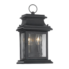 Artistic Ltg-Wall Lantern, Charcoal, Water Glass