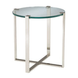 Uptown Side Table in Polished Nickel and Clear Glass