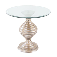 Contemporary Silver Leaf Linea Table with Glass Top