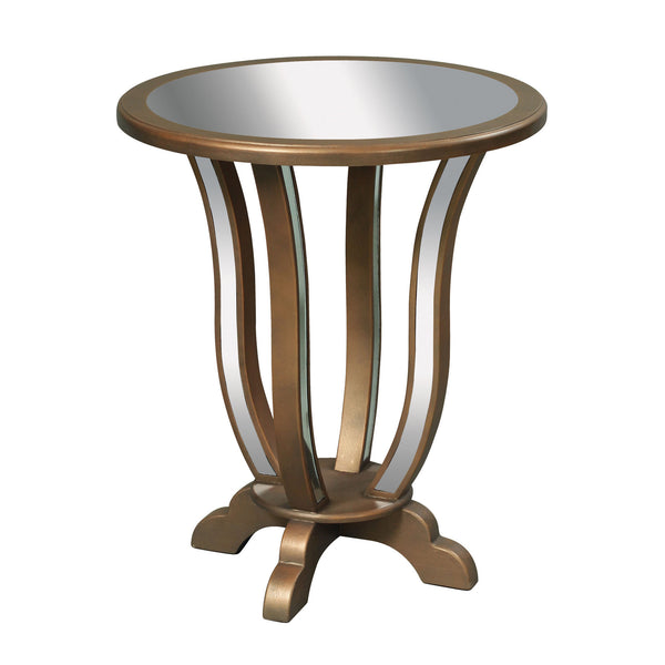 Manama End Table in Clear Mirror, Gold Leaf