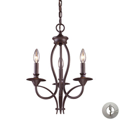 Medford 3-Light Chandelier In Oiled Bronze With Adapter Kit