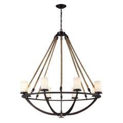 Natural Rope 8 Light Chandelier In Aged Bronze