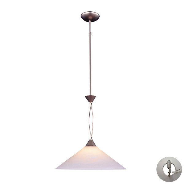 1 Light Pendant In Satin Nickel and Tea Swirl Glass With Adapter Kit