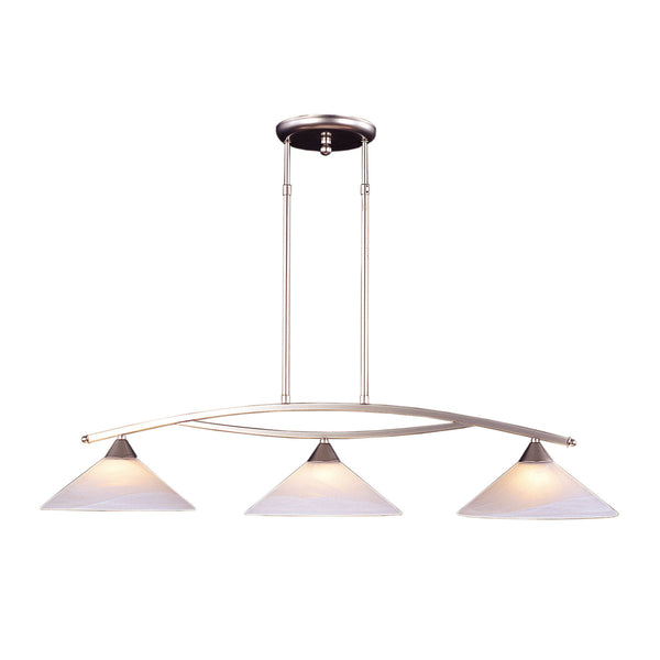 3 Light Island Light In Satin Nickel and Tea Swirl Glass