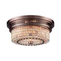 Chadwick 2-Light Flush Mount In Antique Copper and Cappa Shell