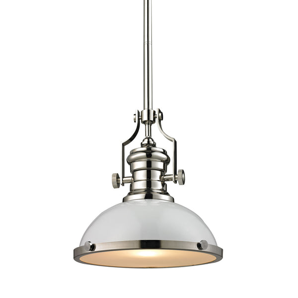 Chadwick 1 Light Pendant In Gloss White/Polished Nickel