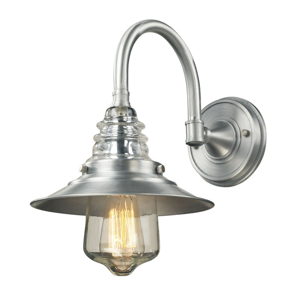 Insulator Glass 1 Light Outdoor Sconce In Brushed Aluminum