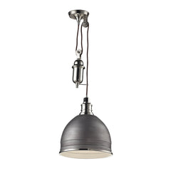 Carolton 1 Light Pendant In Weathered zinc/Polished Nickel