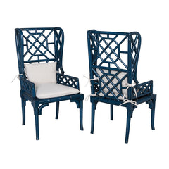"Blue Bamboo Wing Back Chair - 47""x24"""