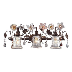 3 Light Vanity In Deep Rust and Hand Blown Florets