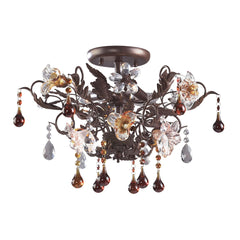 3 Light Semi Flush In Deep Rust and Hand Blown Florets
