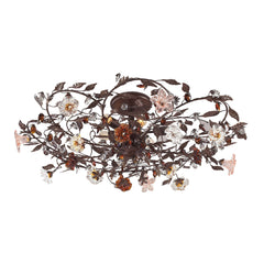 6 Light Semi Flush In Deep Rust and Hand Blown Florets