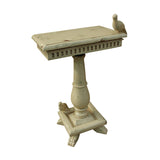 "Cream Socle Table With Birds - 30""x20"""