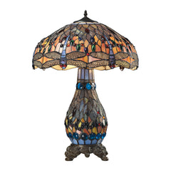 "18"" Traditional Dragonfly Tiffany Glass Table Lamp in Tiffany Bronze"