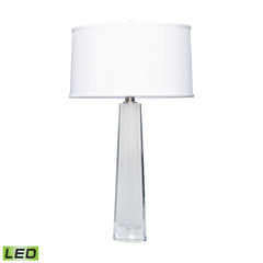 Clear Crystal Faceted Column LED Table Lamp