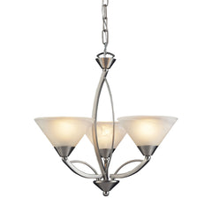 3 Light Chandelier In Satin Nickel and Marblized White Glass