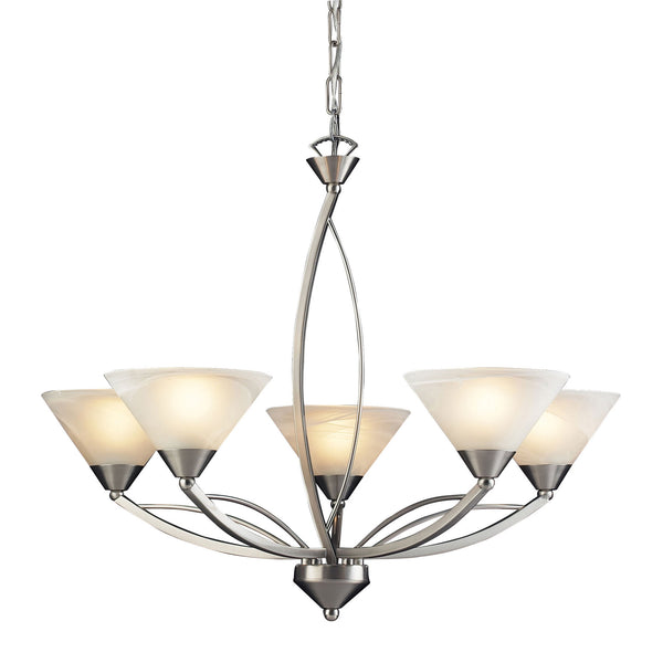 5 Light Chandelier In Satin Nickel and Marblized White Glass