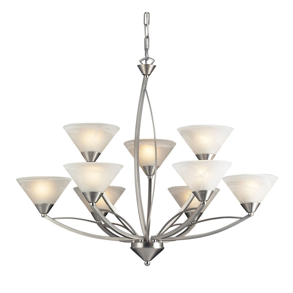 9 Light Chandelier In Satin Nickel and Marblized White Glass