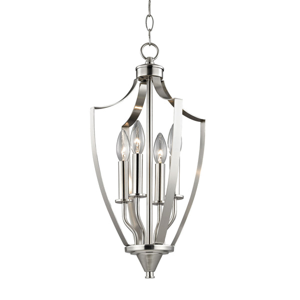 Foyer Collection 4 Light Pendant In Brushed Nickel