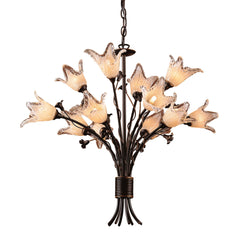 12 Light Chandelier In Aged Bronze and Hand Blown Tulip Glass